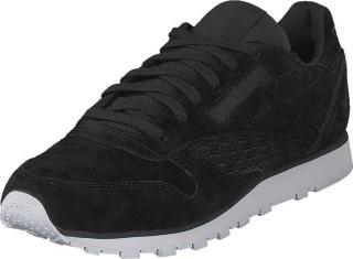 Reebok Classic Cl Lthr Woven EMB Black/White, Sko, Sneakers og Treningssko, Sneakers, Svart, Dame, 41