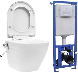 Veggmontert toalett med skjult sisterne kantfri keramikk -