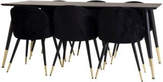NORDFORM Spisegruppe Doris bord og 6 stk Valleta stoler Unisex Svart