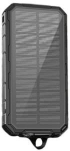 Vannavstøtende Solcellelader / Powerbank - 20000mAh - Svart