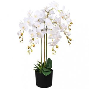 Kunstig orkide med potte 75 cm - hvit