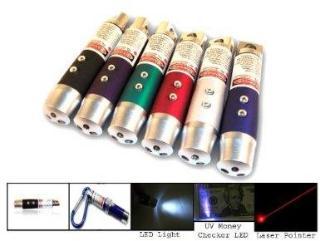 3-i-1 - Laserpointer, lommelykte og UV lampe