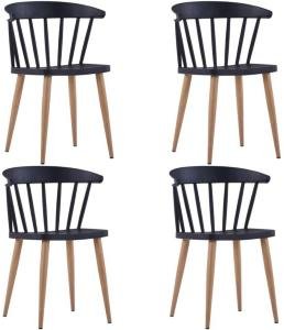 vidaXL Spisestoler 4 stk svart plast stål
