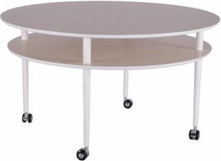 Casper Sofabord 90 cm med Hjul Ovalt - Hvit