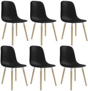 Spisestoler 6 stk svart plast -