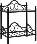 vidaXL Nattbord stål og herdet glass 45x30,5x60 cm svart