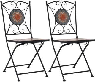 vidaXL Mosaikkbistrostoler 2 stk oransje/grå