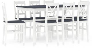 vidaXL Spisestue 9 deler furu hvit og grå