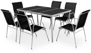 vidaXL Utendørs spisestue 7 deler stål svart