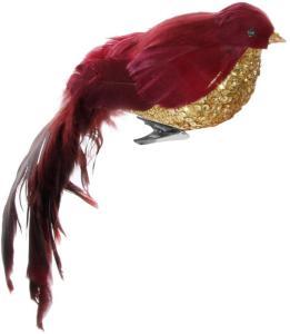 Shishi Fugl med Klemme Rød/Gull