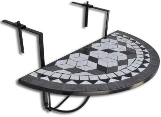 vidaXL Hengende balkongbord svart og hvit mosaikk