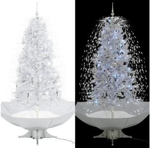 Kunstig juletre med snø og paraplyfot hvit 190 cm - Hvit