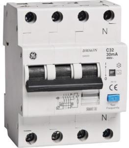General Electric JORDFEILAUTOMAT 3+N C-32A 30mA 6kA 4mod GE DMA63N 1643415 Jordfeilautomat