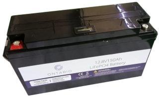 Ontario 12.8V 150Ah LifePO4 lithium batteri (med blåtann) for båt, hytte, campingvogn og bobil (forbruk) (ONT12V150AH)