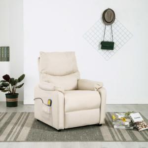 Massasjestol i stoff -kremhvit
