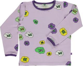 Småfolk - T-shirt w. Flower Print Lavender Flower  AK4296
