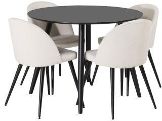 Pelle bord med Valerie lyx Manchesterstol 4 stk -