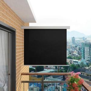 vidaXL Sidemarkise for balkong multifunksjonell 150x200 cm svart