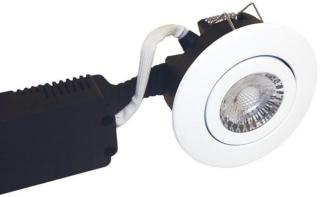 Nordtronic Low profile 230v downlight 6w led 2700k outdoor white ro 3671