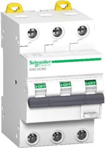 Schneider Electric Schneider Jordfeilautomat IC60 3P 32A 30MA C 10kA 1600939 Jordfeilautomat