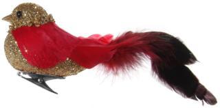 Fugl red-gold m/klips
