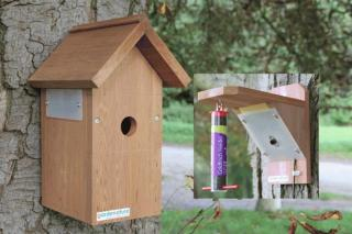 Fuglekasse og fuglemater med kamera Sett med HR fargekamera og IR