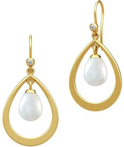 Julie Sandlau Afrodite Droplet Earring - Gold Øredobber Smykker Hvit Julie Sandlau Women