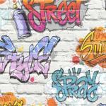 DUTCH WALLCOVERINGS Veggpanel grafitti flerfarget L179-05