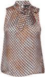 SAND 3359 - Prosa Top Tie Bluse Ermeløs Brun SAND