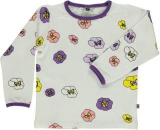 Småfolk T-shirt w. Flower print. Cream Flower  AK98SC
