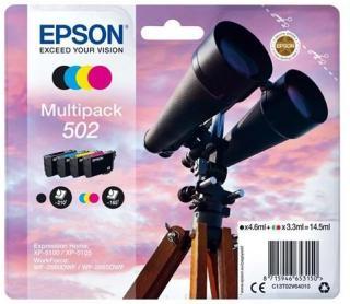 Epson 502 Multipack - 4 pakker - sort gul cyan magenta - original - blækpatron - Blekkpatron Svart C13T02V64020