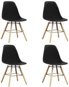 vidaXL Spisestoler 4 stk svart plast