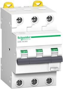 SCHNEIDER Jordfeilautomat 32A/C-3P 30mA iC60 RCBO A9D17332 (1600939)