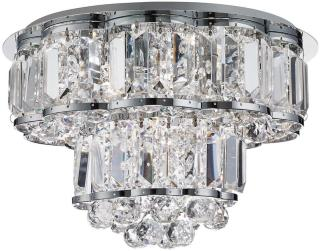 Hayley Taklampe Flush Chrome Clearl Crystal Balls Drops - Searchlight