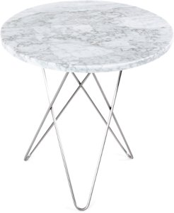 OX DENMARQ Tall Mini O Table Hvit Marmor Rustfri Stålramme Ø50