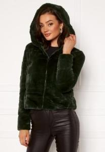 ONLY Chris Fur Hooded Jacket Rosin XS