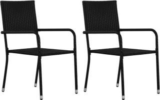 vidaXL Utendørs spisestoler 2 stk svart polyrotting