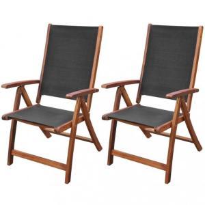 vidaXL Sammenleggbare stoler 2 stk ekte lær 59x48x77cm svart