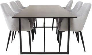 NORDFORM Spisegruppe Pinner bord og 6 stk Comfort stoler Unisex Svartgrå