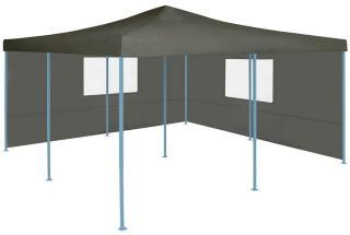 Sammenleggbar paviljong med 2 sidevegger 5x5 m antrasitt -