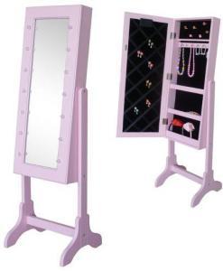 JOX, Furniture Gulvspeil& smykkeoppbevaring med LED-belysning Rosa