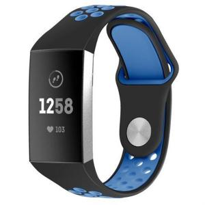 Fitbit Charge 3 armbånd i silikon svart / blå - L