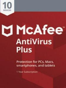 McAfee AntiVirus Plus (10 Devices, 1 Year) - PC, Android, Mac, iOS - Key GLOBAL