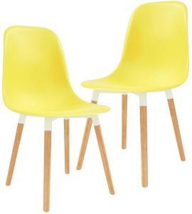 Spisestoler 2 stk gul plast - Gul