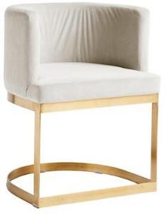 Nordal Lounge spisestol i fløyel - hvit