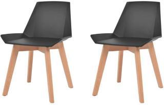 vidaXL Spisestoler 2 stk svart plast