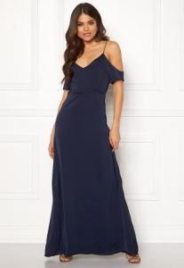 DRY LAKE Lorence Long Dress Navy Satin XS