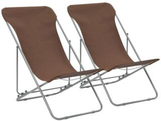 vidaXL Sammenleggbare strandstoler 2 stk stål og oxfordstoff brun