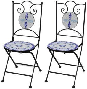 vidaXL Sammenleggbare bistrostoler 2 stk keramikk blå og hvit