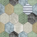 DUTCH WALLCOVERINGS Veggpanel lappeteppe grønn og blå 7360-3